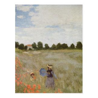 Feld der Mohnblumen Claude Monet Postkarte