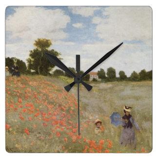 Feld der Mohnblumen Claude Monet Quadratische Wanduhr