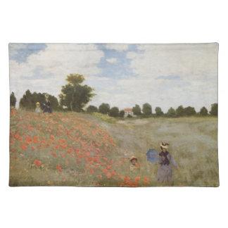 Feld der Mohnblumen Claude Monet Tischset