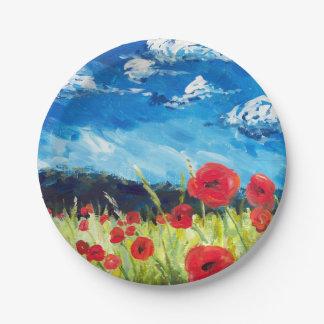 Feld der Mohnblumenplatte Pappteller