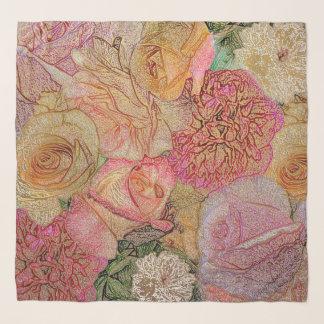Feld der Rosen im Farbbleistift mit Imitat-Gold Schal