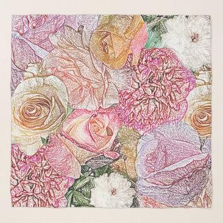 Feld der Rosen im Farbbleistift Schal