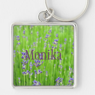 Feld des Lavendels Silberfarbener Quadratischer Schlüsselanhänger