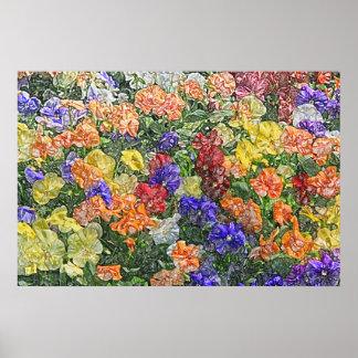 Feld des mehrfarbigen Stiefmütterchen-Leinwanddruc Poster