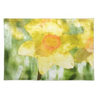 Feld gelben Narzissen Aquarells Tischset