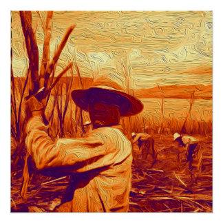 Feld-Hände, die Zuckerrohr ernten Poster