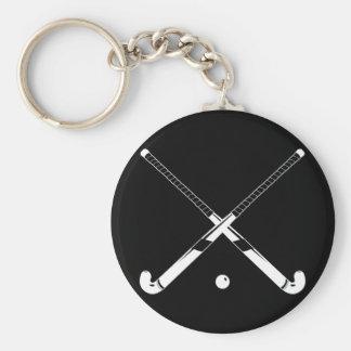 Feld-Hockey-Silhouette Keychain Schwarzes Standard Runder Schlüsselanhänger