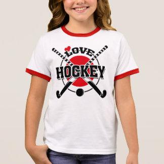 Feld-Hockey-Spieler, gekreuzte Hockey-Stöcke Ringer T-Shirt