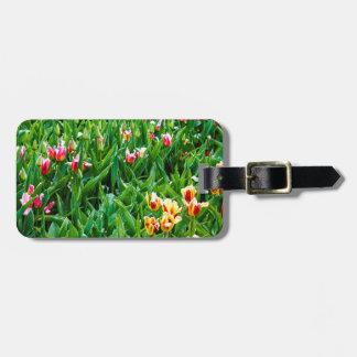 Feld mit den rosa und gelben Tulpen Kofferanhänger