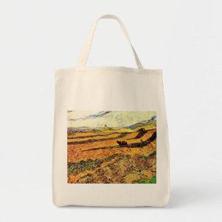 Feld mit Ploughman und Mühle Vincent van Gogh. Tragetasche