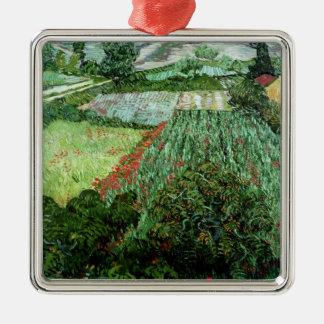 Feld Vincent van Goghs | mit Mohnblumen, 1889 Quadratisches Silberfarbenes Ornament