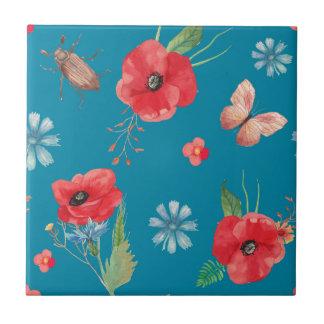 Feld-Wildblume-Muster auf Blau Keramikfliese
