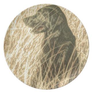 Feldoutdoorsman-Jagd-Hundewelpen-Schwarz-Labrador Melaminteller