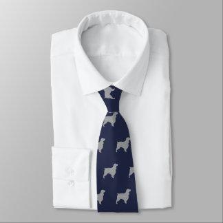 Feldspaniel-Silhouette-Muster-Blau Krawatte