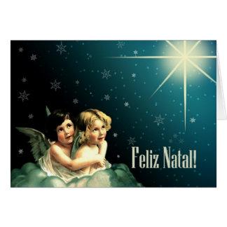 Feliz Geburts-. Portugiesische Weihnachtskarten Karte