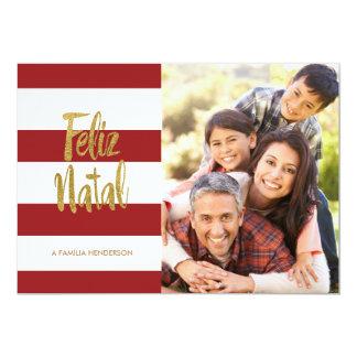 Feliz Geburts- Rot u. Goldstreifen 12,7 X 17,8 Cm Einladungskarte