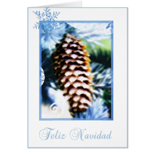 feliz navidad fir tree cone spanish merry christma karte