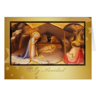 Feliz Navidad, frohe Weihnachten auf spanisch Karte