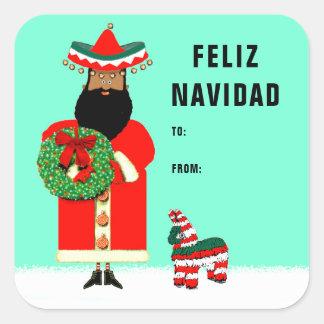 feliz Navidad Geschenkumbauten Quadratischer Aufkleber
