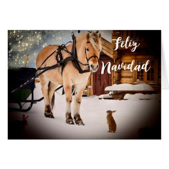 Feliz Navidad Nachtsbauernhof mit Pferd Karte