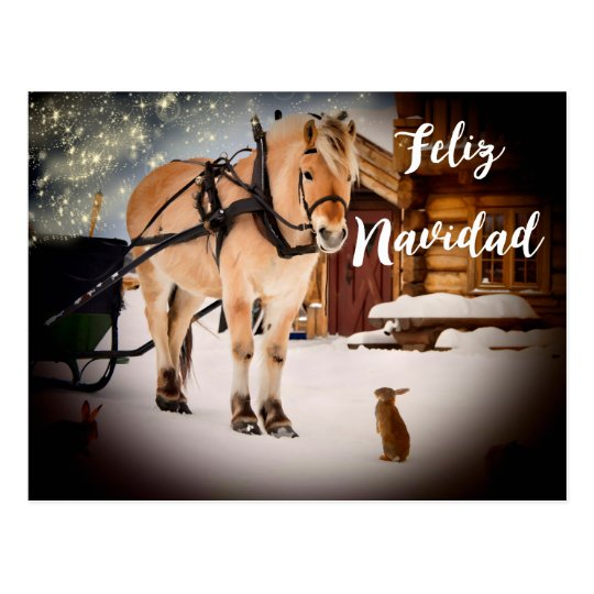 Feliz Navidad Nachtsbauernhof mit Pferd Postkarte