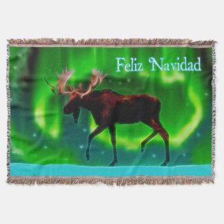 Feliz Navidad - Nordlicht-Elch Decke