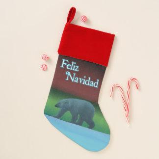 Feliz Navidad - Polarlicht-Eisbär Weihnachtsstrumpf