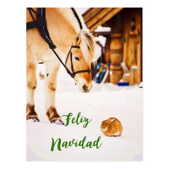 Feliz Navidad Weihnachten mit Vieh im Schnee Postkarte