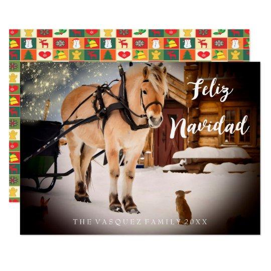 Feliz Navidad Weihnachtskarten-Nachtbauernhof mit Karte