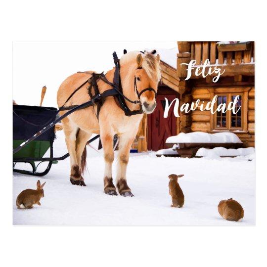 Feliz Navidad Weihnachtsland Idyll-Schneetiere Postkarte
