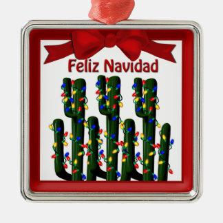 Feliz Navidad Wüsten-Weihnachtskaktuss-Prämie Quadratisches Silberfarbenes Ornament