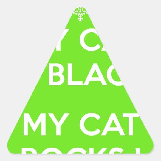 Felsen der schwarzen Katze Dreieckiger Aufkleber