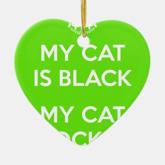 Felsen der schwarzen Katze Keramik Herz-Ornament