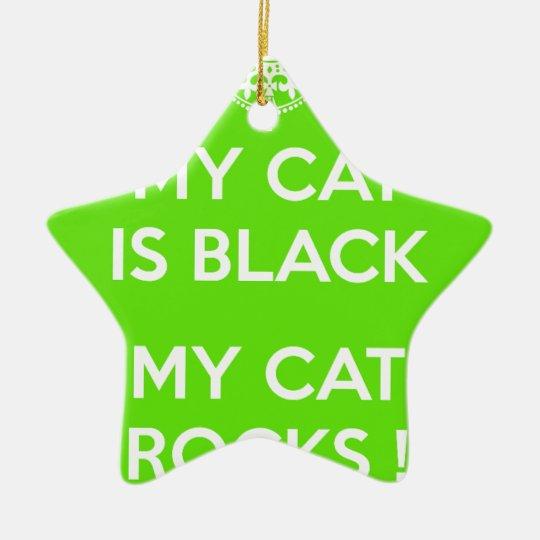 Felsen der schwarzen Katze Keramik Stern-Ornament