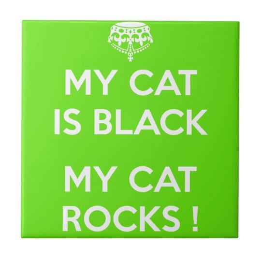 Felsen der schwarzen Katze Kleine Quadratische Fliese
