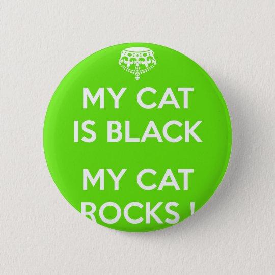 Felsen der schwarzen Katze Runder Button 5,1 Cm
