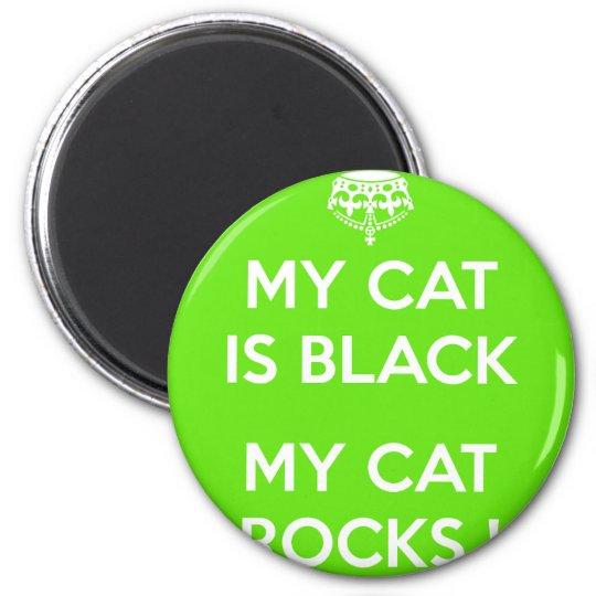 Felsen der schwarzen Katze Runder Magnet 5,7 Cm