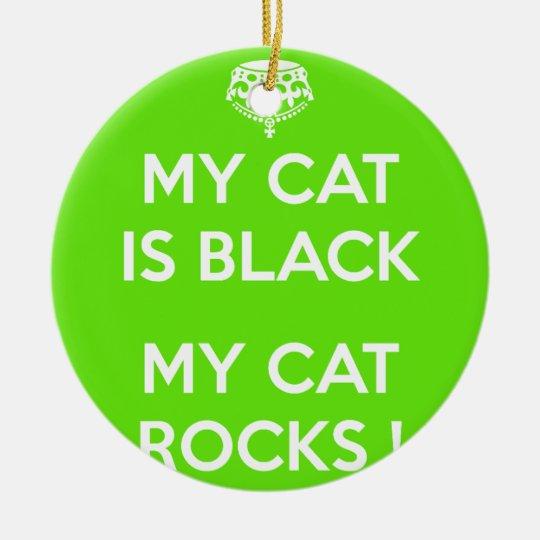 Felsen der schwarzen Katze Rundes Keramik Ornament