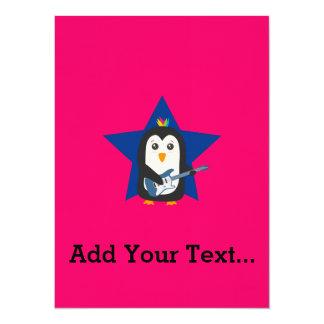 Felsen-Gitarren-Pinguin 14 X 19,5 Cm Einladungskarte