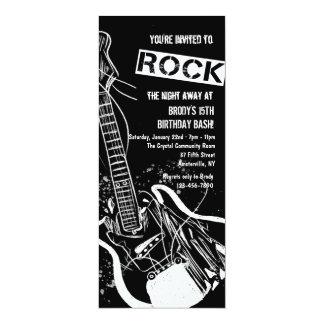 Felsen-Gitarren-Schwarz-Einladung 10,2 X 23,5 Cm Einladungskarte