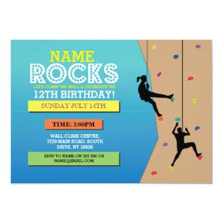 Felsen-Kletterngeburtstags-Party-kletternde Wand 12,7 X 17,8 Cm Einladungskarte