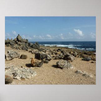 Felsen-Monumente auf Aruban Küste Poster