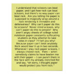 Felsen-Papierschere-Debatten-lustiges Plakat-Zeich