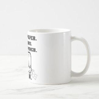 Felsen-Papierschere-Kehle-Durchschlag, den ich Kaffeetasse