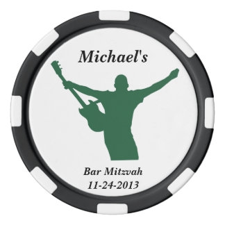 Felsen-Stern-Bar Mitzvah Gastgeschenk-Name-Datum Poker Chips Set