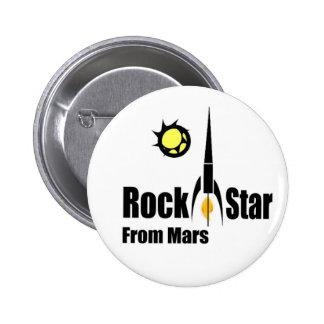 Felsen-Stern von den Mars mit Raumschiff Runder Button 5,1 Cm
