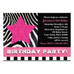 Felsen-Sternzebra-Geburtstags-Party - Rosa Ankündigungen