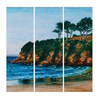 Felsiger Küsten-Strand-Acrylmalerei Bretagne Triptychon