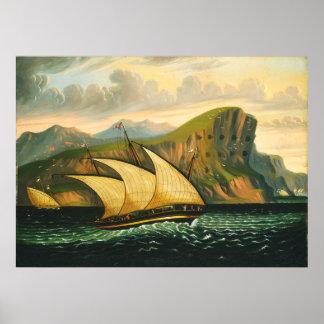 Felucca vor Gibraltar durch Thomas-Kammern Poster