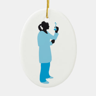 female biologist, chemist, physicist ovales keramik ornament